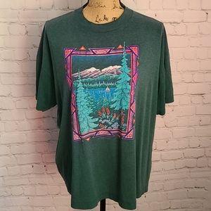 Vintage 80's Boho Wonderland Greej T-shirt XL